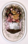 2006-2009 freeze dried flowers, mushroom, paper, ribbon, wicker, acrylic, ink, wire, dome frame