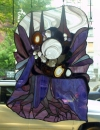 2006-2009 leaded glass, semi-precious stones, hair, blood