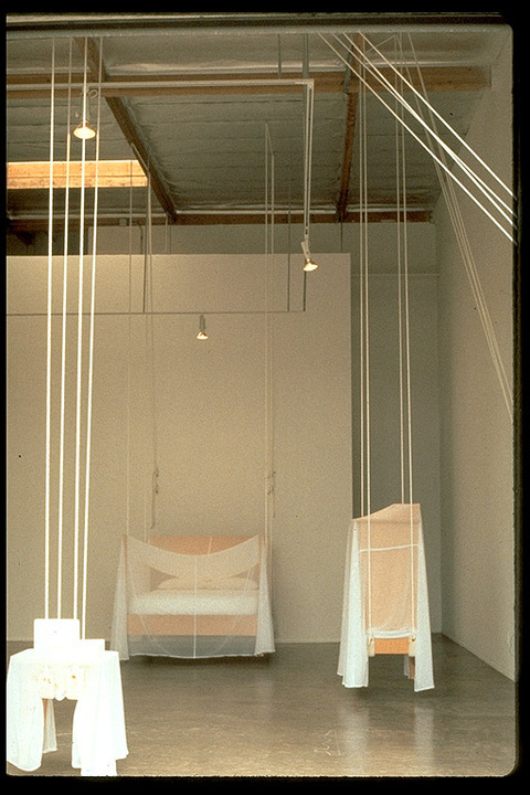 Quint/Krichman Projects, San Diego Domestic Furniture designed by Roy McMakin, ropes, shearling, chiffon, mattress, sheets, pillows, cleats, screw eyes, grommets, crayon