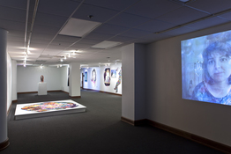 Installation view with film still