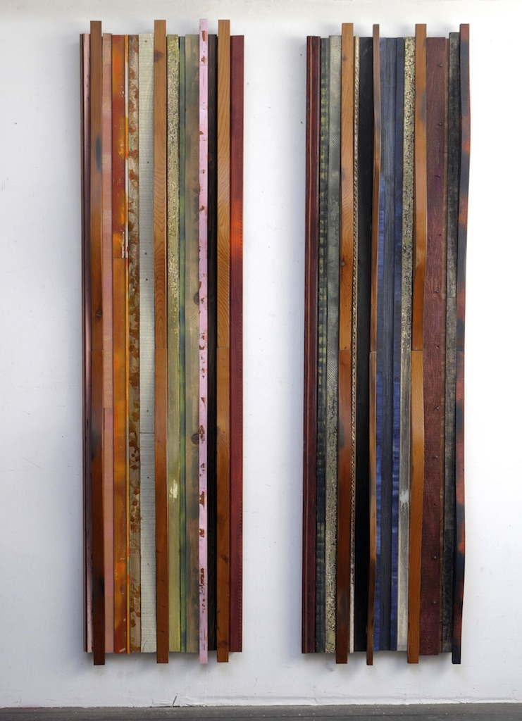 AMY TRACHTENBERG Constructions old growth redwood, paint, metal, zippers and cloth on wood panel