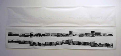 Amy Westpfahl  The Madison Street Skyline: Then & Now, 2005 Ink drawing on denril and ink jet print