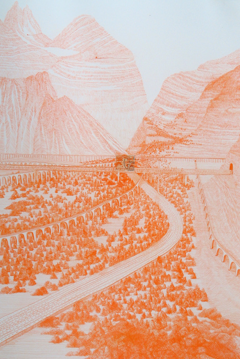 Works on paper Switzerland (Orange Tunnels)