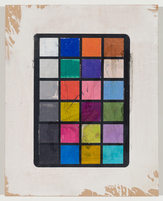 ANDREW BRISCHLER PAINTINGS Gesso, colored pencil, graphite, and oil stick on panel