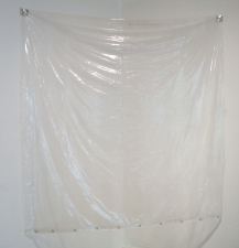 a     n     d     r     e     w            z     a     r     o     u 2012 plastic shower curtain, aluminum tape + thumbtacks