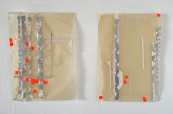 a     n     d     r     e     w            z     a     r     o     u 2012 graphite, paper, price stickers + spray-painted tape on glassine