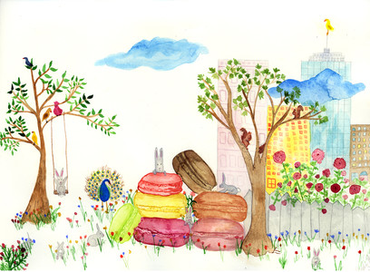 Angelia Murray Whimsical Daydreams Watercolor, Gouache and Pencil on Arches Watercolor Paper