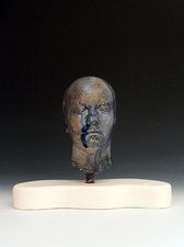 Ceramic Busts Handbuilt, mid-range paper clay, glass