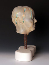 Busts, 2012-2013 Handbuilt, mid-range paper clay, glass