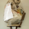 2011 Studio debris, studio stool, clear plastic bag