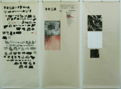 Anne Gilman Scrolls with printed elements ink, pencil, paint with 42 relief prints on 3 scrolls