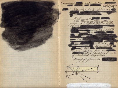 Anne Gilman The Jolly Balance ink, pencil, paint on handwritten scientific paper from 1918
