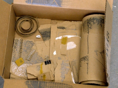 Anne Gilman One-of-a-kind Artist Books pencil, ink, dry pigment, paint, metal clip, pin on recycled paper in cardboard box