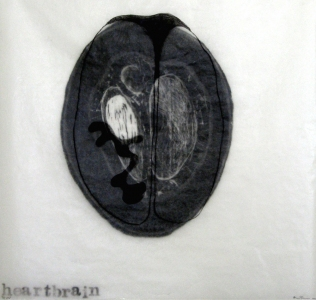 Anne Gilman Limited Edition 2 layer woodcut with rubber stamp, wax and hand drawing