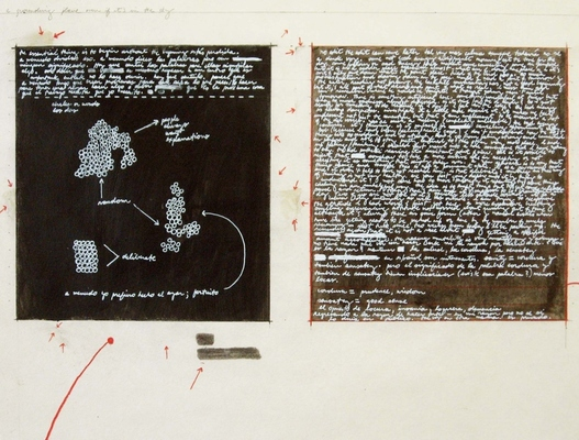 Anne Gilman Work from Residency with Edward Albee Foundation ink, pencil, paint, with 2 relief prints on 3 scrolls