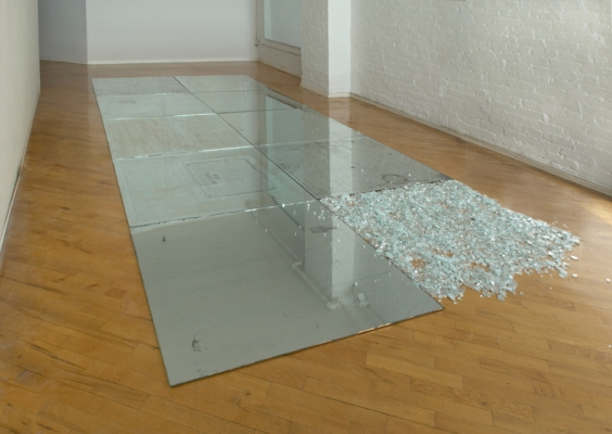 Anne Peabody My Sidewalk, 2004 Sterling Silver Leaf, Glass