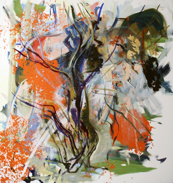 "Anne Sherwood Pundyk, Change My Mind/Martian Easter Tree 2011 Oil and Acrylic on Linen 63"" x 60"""