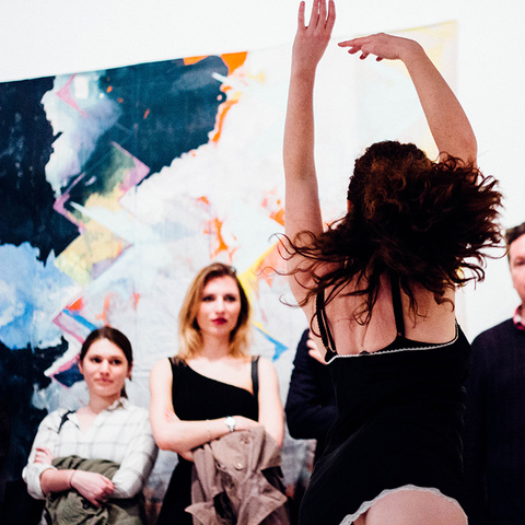 "Performance at opening of ""The Revolution Will Be Painted,"" solo exhibition of paintings by Anne Sherwood Pundyk, Christopher Stout Gallery, New York, April 1 to May 1, 2016"