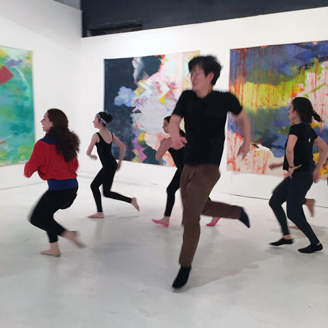 "Dance class on the closing day of ""The Revolution Will Be Painted,"" solo exhibition of paintings by Anne Sherwood Pundyk, Christopher Stout Gallery, New York, April 1 to May 1, 2016"