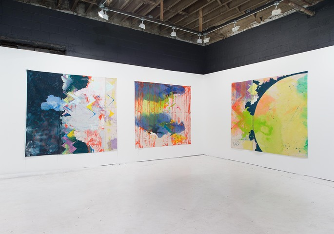 "Installation view of ""The Revolution Will Be Painted,"" solo exhibition of paintings by Anne Sherwood Pundyk, Christopher Stout Gallery, New York, April 1 to May 1, 2016.  From left to right: ""Molten"" (2015), ""Reine (2015), and ""Ancestors"" (2015)"