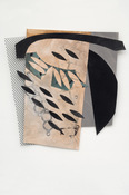 "ANNE SEELBACH ""Troubled Waters"" cut-outs tempera, plastic mesh on cut paper"