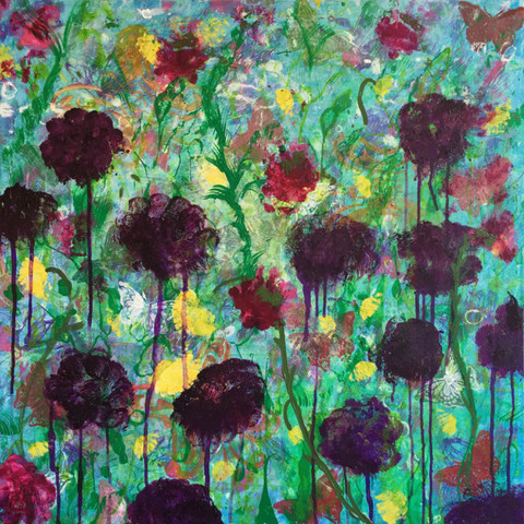 Annie Nash SUMMER FLOWERS acrylic and ink on canvas