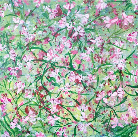 Annie Nash SUMMER FLOWERS acrylic and pastel on cradled wood board