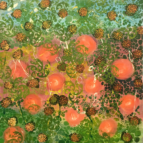 Annie Nash SUMMER FLOWERS watercolor, ink, pastel, and acrylic on cradled wood board