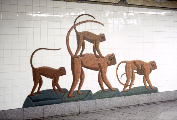 5th Avenue R,N,Q subway station, NYC Urban Oasis- Monkeys (5th Avenue, R,N,Q subway station, NYC)