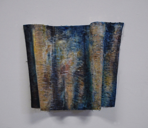 ANN STODDARD  Water Maps oil on manipulated linen