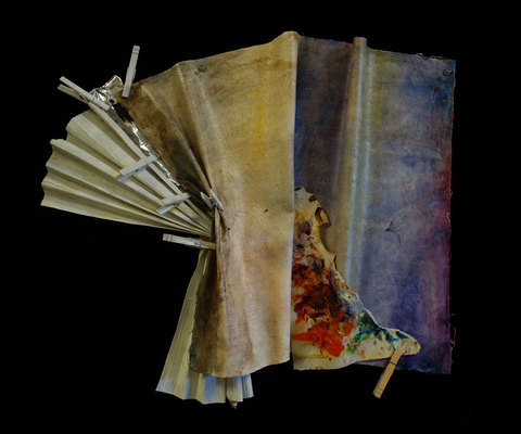 ANN STODDARD Earth Maps oil on manipulated linen, painted open mesh/stiff fabric, paper, foil tape and clothespins