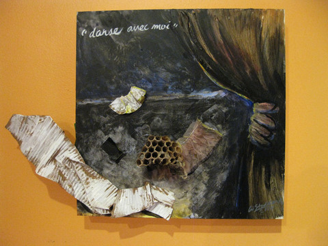 ANN STODDARD  The Magic Show  Acrylic paint, gesso, chocolate truffle wrapper, organza, rice paper, corrugated cardboard, silver thread, tape, found Paper Wasp nest on wood panel