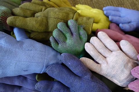ANN STODDARD Hands That Build stuffed & painted gloves