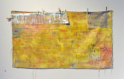 ANN STODDARD COMPASS / WIP Oil, film, digital print on organza, clothespins, on linen