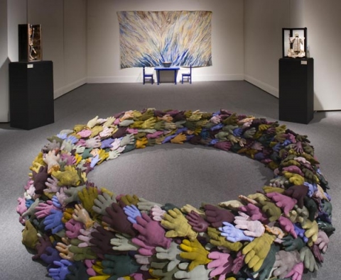 "ANN STODDARD archive: ""conduit"" : sculpture and paintings 800 stuffed, painted work gloves"
