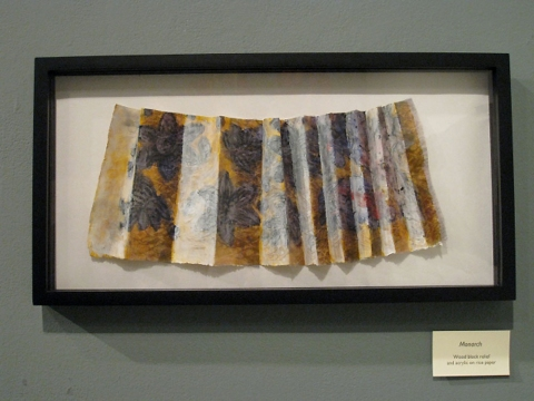 "ANN STODDARD 2011 ""Collecting Installation"" relief block print,acrylic,ink on organza on rice paper"