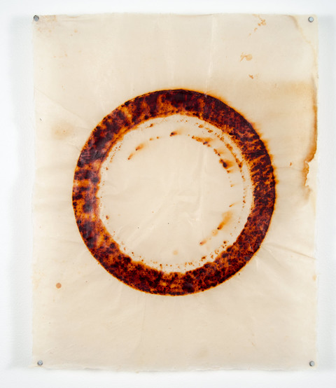 Sarah E. Rehmer Wax & Paper rust and encaustic on kitakata