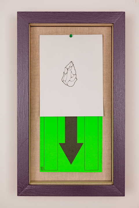 A N T H O N Y   C E R V I N O LONG LOST (2018) ink on painted steel, found signage, green push pin, linen, wood, paint, glass