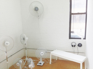 ARIELLE FALK BREATHE IN, BREATHE IN oscillating fans w/ blades removed