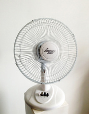 ARIELLE FALK BREATHE IN, BREATHE IN oscillating fan w/ blades removed
