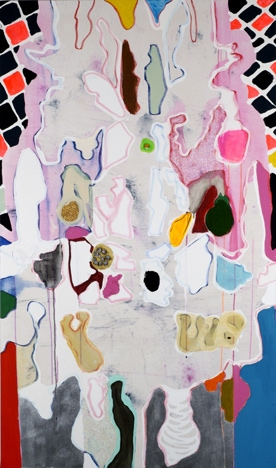 ART FOR FILM - great cleared art rental for film, television and commercials Laurel Sparks (SPALAU) acrylic, marble dust, paper mache, enamel, pom poms, watercolor marker, pigment, unpainted canvas