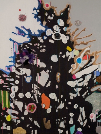 ART FOR FILM - great cleared art rental for film, television and commercials Laurel Sparks (SPALAU) acrylic, marble dust, paper mache, small objects, feathers, enamel marker, pigment, unpainted canvas