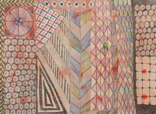 ART FOR FILM - great cleared art rental for film, television and commercials Laurel Sparks (SPALAU) colored pencil, graphite, ink, pigment rhinestones on paper