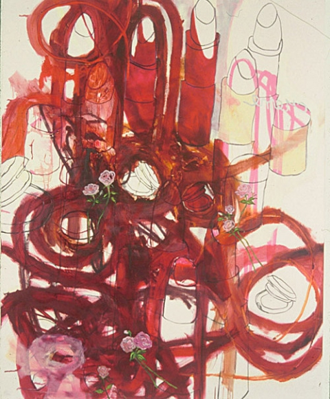 ART FOR FILM - great cleared art rental for film, television and commercials Gina Magid (MAGGIN) oil & charcoal on satin