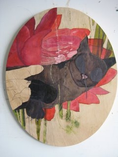 ART FOR FILM - great cleared art rental for film, television and commercials Gina Magid (MAGGIN) oil on shaped wood panel