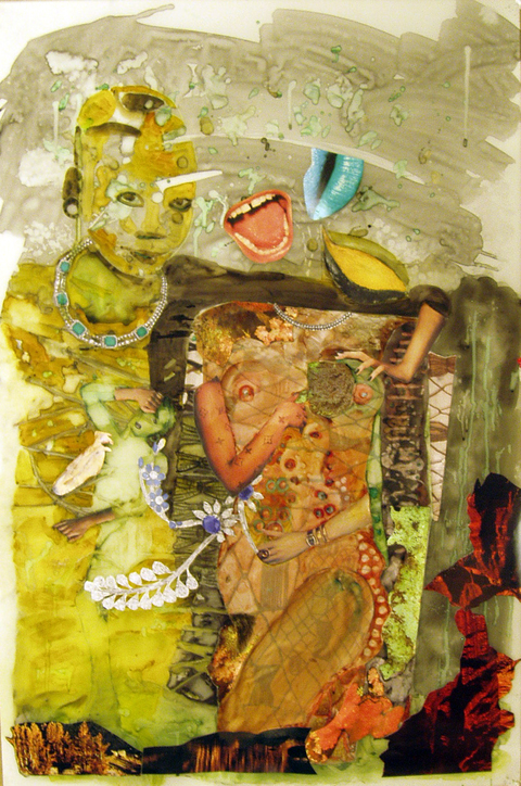 ART FOR FILM - great cleared art rental for film, television and commercials Jane Dell (DELJAN) mixed media collage on canvas