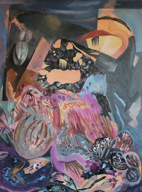 ART FOR FILM - great cleared art rental for film, television and commercials Jane Dell (DELJAN) acrylic/collage on canvas