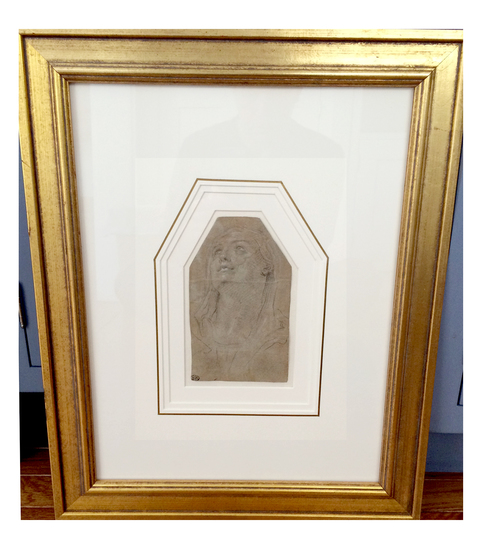 Artifacts Collections of New York Inc.  museum /archival framing Black chalk with white bodycolor on toned paper
