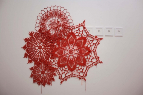 Ashley V. Blalock Other Sculpture and Installation drawings and yarn