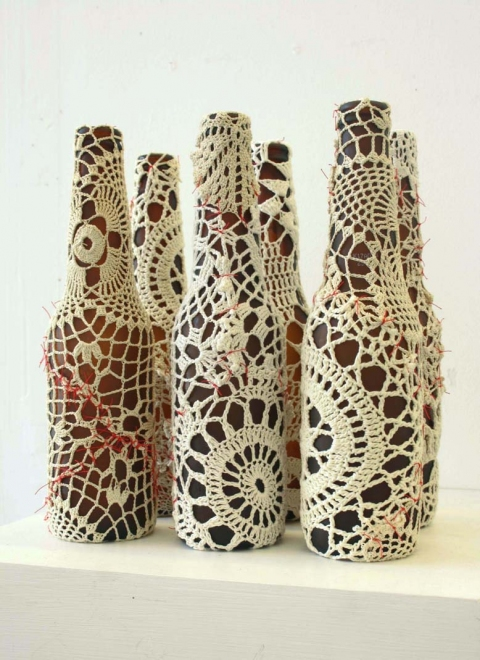 Ashley V. Blalock Other Sculpture and Installation beer bottles, doilies and red thread